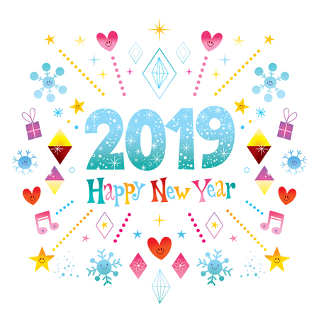 Illustration for Happy New Year 2019 greeting card - Royalty Free Image