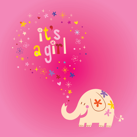 Illustration pour it's a girl card with cute elephant, stars and hearts on pink background. Vector illustration. - image libre de droit