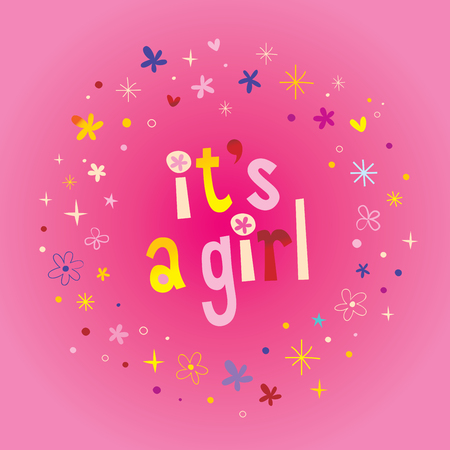 Illustration pour its a girl card with stars and hearts on pink background. Vector illustration. - image libre de droit