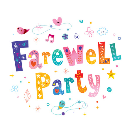Illustration for Farewell party decorative lettering. - Royalty Free Image