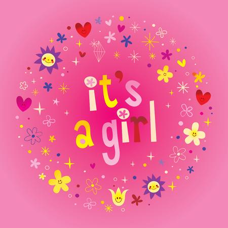 Illustration pour its a girl card. - image libre de droit