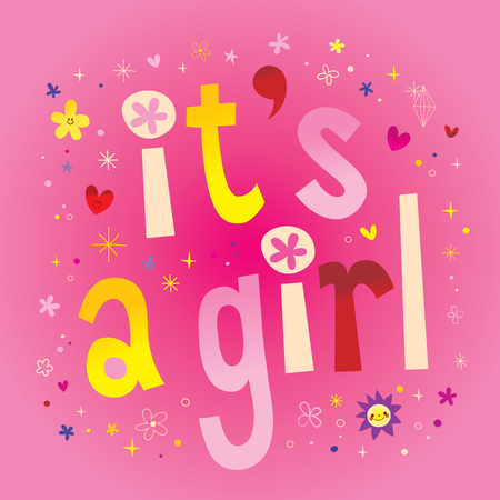 Illustration pour Its a girl typography illustration on colorful design. - image libre de droit
