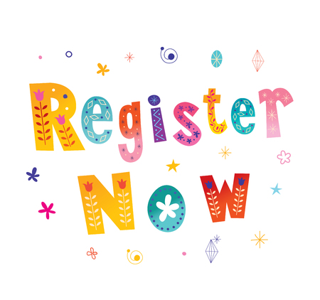 Illustration for register now button lettering design - Royalty Free Image