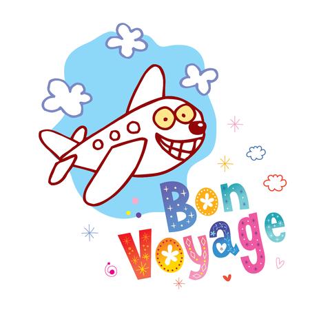 Ilustración de Bon Voyage - have a nice trip in French - cute airplane character mascot travel tourism illustration - Imagen libre de derechos