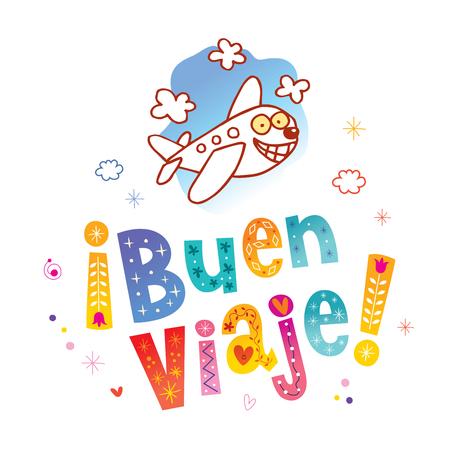Illustration pour Buen viaje - Have a nice trip in Spanish - image libre de droit