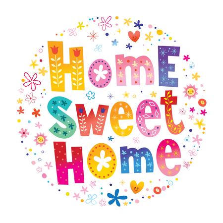 Ilustración de home sweet home typography lettering decorative text - Imagen libre de derechos