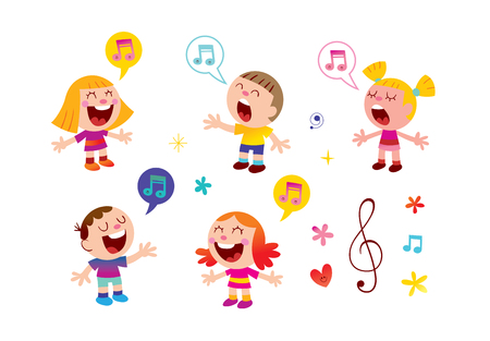 Illustration pour group of kids singing music education illustration - image libre de droit