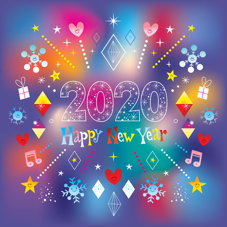 Illustration for Happy New Year 2020 greeting card - Royalty Free Image