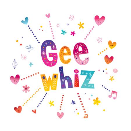 Ilustración de Gee whiz - phrase decorative lettering - Imagen libre de derechos