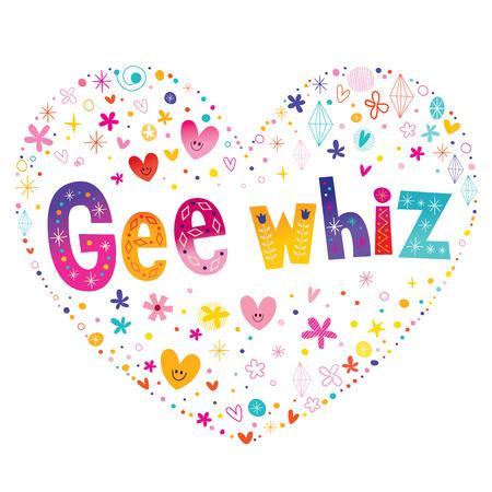 Ilustración de Gee whiz phrase heart shaped type lettering design - Imagen libre de derechos