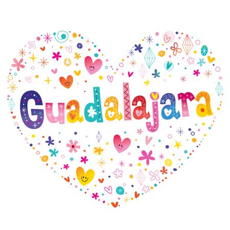 Ilustración de Guadalajara - city in Mexico - heart shaped type lettering design - Imagen libre de derechos