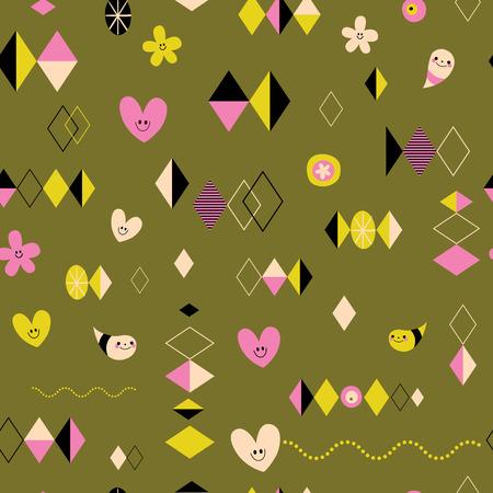 Illustration pour Funky retro style seamless pattern - image libre de droit