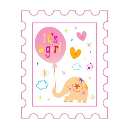 Illustration pour its a girl card with cute elephant - image libre de droit