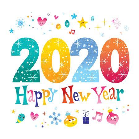 Ilustración de Happy New Year 2020 greeting card - Imagen libre de derechos