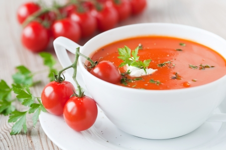 Photo for tomato soup in a bowl  - Royalty Free Image