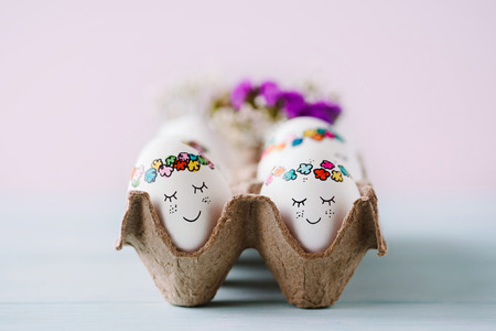 Photo for Sweet easter eggs in egg carton - Royalty Free Image