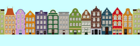 Illustration pour Seamless Border of Cute retro houses exterior. Collection of European building facades. Traditional architecture of Belgium and Netherlands - image libre de droit