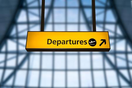 Photo pour Check in, Airport Departure & Arrival information board sign - image libre de droit