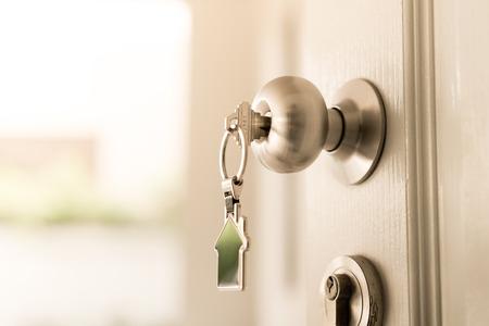 Photo pour Home and housing estate concept, a key to open the door - image libre de droit