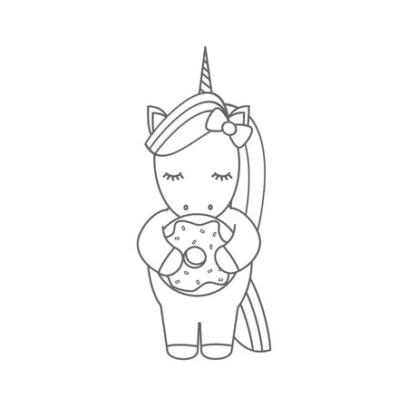 Illustration pour cute cartoon black and white vector illustration with unicorn eating donut - image libre de droit