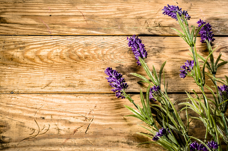 Foto de Flowers of lavender on rustic wooden background - Imagen libre de derechos