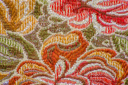 Photo for Retro textile, texture with flower pattern, background - Royalty Free Image
