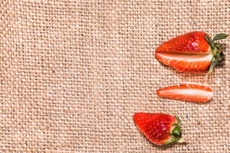 Photo for Red strawberries, fresh fruit on rustic background - Royalty Free Image