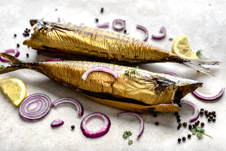 Photo for Mackerel, smoked fish with omega 3 fat, bar food on table - Royalty Free Image