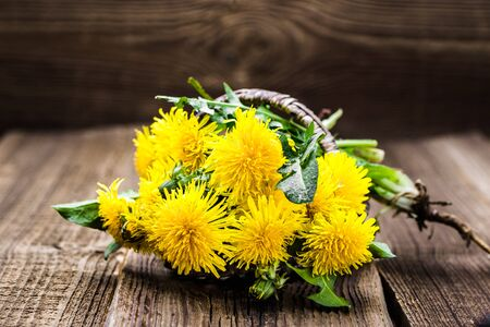 Photo pour Bouquet of dandelion flowers, yellow wildflowers on wooden background - image libre de droit