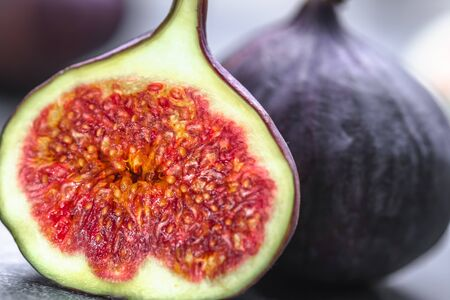Photo for Fresh figs fruit. Slice of fig, closeup. - Royalty Free Image
