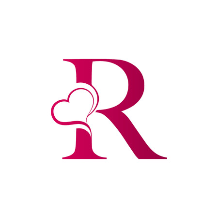 Foto per R letter logo with heart icon, valentines day concept - Immagine Royalty Free