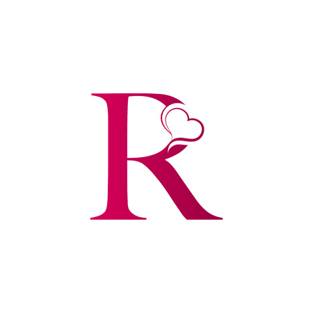 Illustration for R letter logo with heart icon, valentines day concept - Royalty Free Image