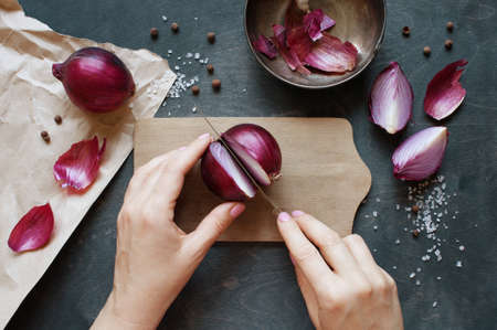 Photo for Hand cut red onion - Royalty Free Image