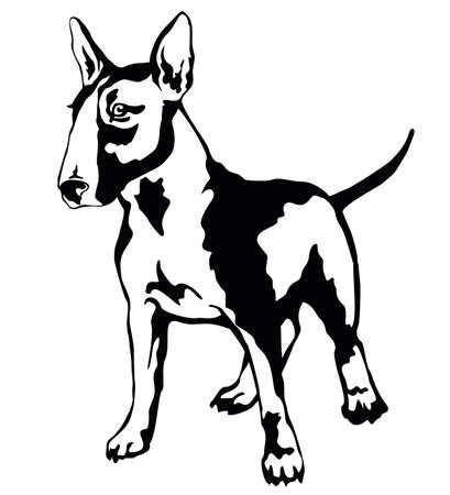 Ilustración de Decorative portrait of standing in profile dog Bull terrier, vector isolated illustration in black color on white background - Imagen libre de derechos