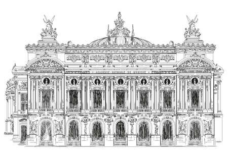 Ilustración de Grand opera, Opera Garnier (Landmark of Paris, France) vector isolated hand drawing illustration in black color on white background - Imagen libre de derechos