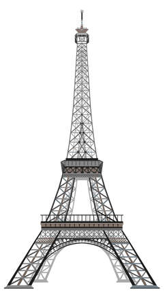 Illustration pour Vector illustration grey and black Eiffel tower isolated on white background - image libre de droit
