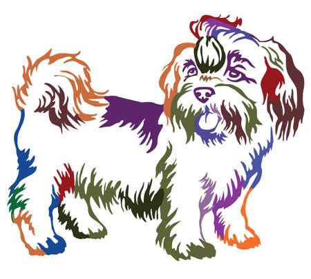 Ilustración de Decorative contour portrait of standing in profile dog shih-tzu, colorful vector isolated illustration on white background - Imagen libre de derechos