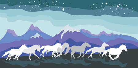 Illustration pour Colorful vector illustration- background with horses silhouettes white and grey colors running gallop between mountains under sky with stars. Mountains landscape in night - image libre de droit