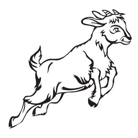 Ilustración de Decorative jumping funny cartoon goat kid. Monochrome vector illustration in black color isolated on white background. - Imagen libre de derechos