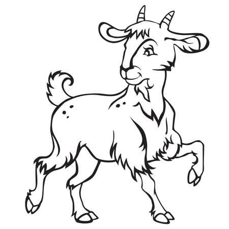 Ilustración de Decorative standing funny cartoon goat kid. Monochrome vector illustration in black color isolated on white background. - Imagen libre de derechos