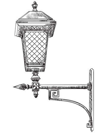 Illustrazione per Hand drawn old street lamp vector illustration - Immagini Royalty Free