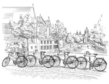 Illustration pour Bicycles on bridge over the canals of Amsterdam, Netherlands. Landmark of Netherlands. Vector hand drawing illustration in black color isolated on white background. - image libre de droit