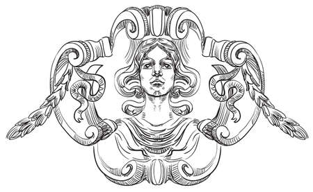 Illustration pour Ancient carving street vignette with a beautiful female face vector hand drawing illustration in black color isolated on white background - image libre de droit
