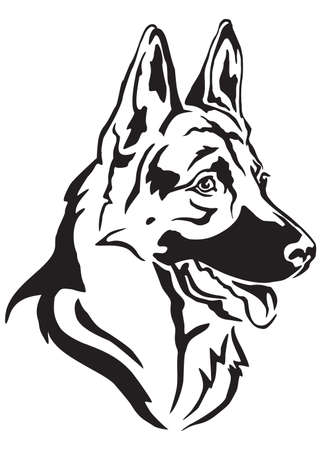 Ilustración de Decorative portrait in profile of dog German shepherd, vector isolated illustration in black color on white background - Imagen libre de derechos