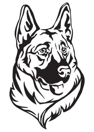 Illustrazione per Decorative portrait of dog German shepherd, vector isolated illustration in black color on white background - Immagini Royalty Free