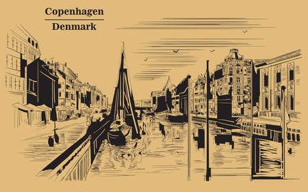 Illustration pour Pier in Copenhagen, Denmark. Landmark of Denmark. Vector hand drawing illustration in black color isolated on brown background. - image libre de droit