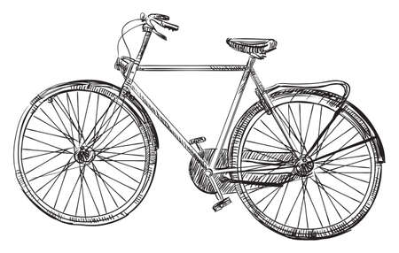 Illustration pour Vector hand drawin bicycle, illustration in black color isolated on white background. - image libre de droit