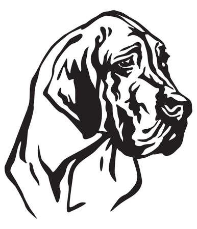 Ilustración de Decorative portrait of dog Great Dane, vector isolated illustration in black color on white background - Imagen libre de derechos