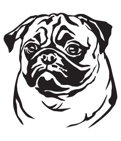 Ilustración de Decorative portrait of dog Pug, vector isolated illustration in black color on white background - Imagen libre de derechos