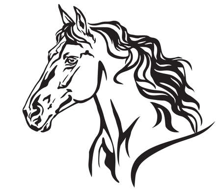 Ilustración de Decorative portrait in profile of beautiful running horse with long mane, isolated vector illustration in black color on white background. Image for design and tattoo. - Imagen libre de derechos